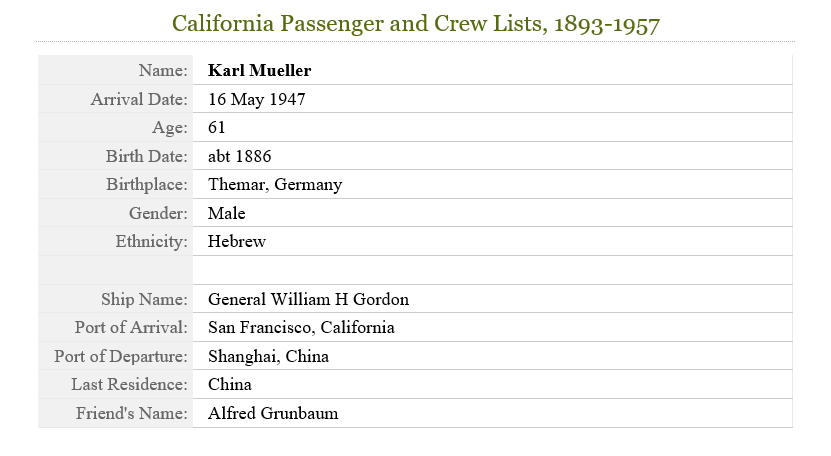 California Passenger and Crew Lists, 1893-1957